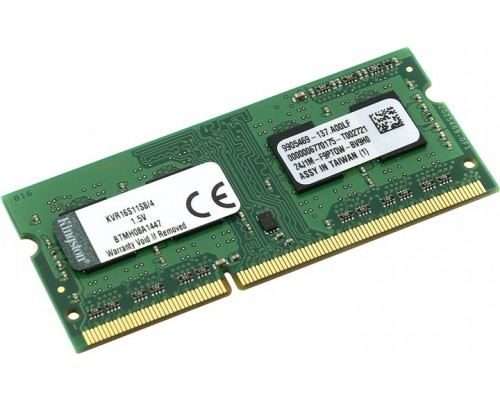 Модуль памяти DDR3 Kingston 4Gb 1600MHz CL11 SO-DIMM 1,5v ValueRAM KVR16S11S8/4 RTL
