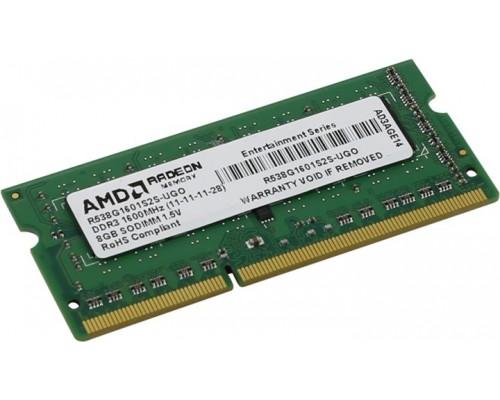 Модуль памяти DDR3 AMD 8Gb 1600MHz CL11 SO-DIMM 1,5v R538G1601S2S-UGO RTL