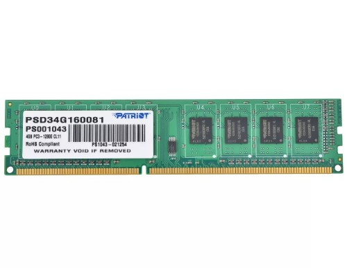 Модуль памяти DDR3 Patriot 4Gb 1600MHz CL11 DIMM 1,5v PSD34G160081 RTL