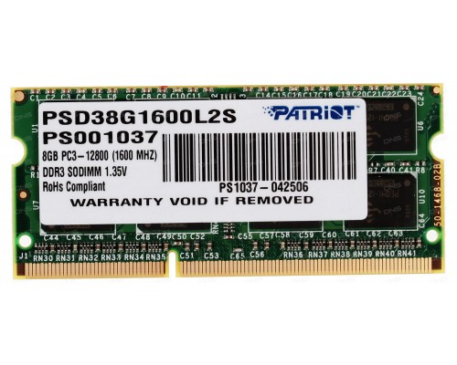 Модуль памяти DDR3 Patriot 8Gb 1600МГц CL11 SO-DIMM 1,35v PSD38G1600L2S RTL