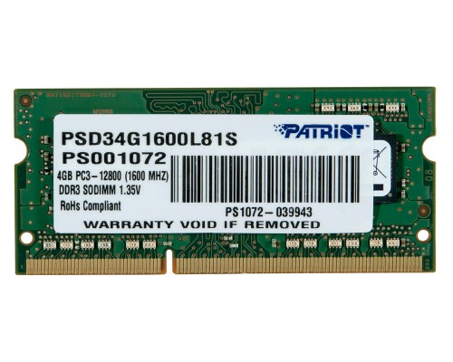 Модуль памяти DDR3 Patriot 4Gb 1600МГц CL11 SO-DIMM 1,35v PSD34G1600L81S RTL