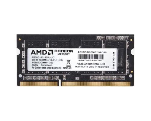 Модуль памяти DDR3 AMD 8Gb 1600MHz CL11 SO-DIMM 1,35v R5 Entertainment Series Black R538G1601S1SL-U RTL