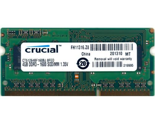 Модуль памяти DDR3 Crucial 4Gb 1600МГц CL11 SO-DIMM 1,35v CT51264BF160BJ RTL