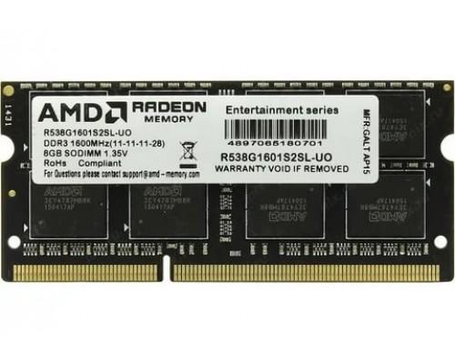 Модуль памяти DDR3 AMD 8Gb 1600MHz CL11 SO-DIMM 1,35v R5 Entertainment Series Black R538G1601S2SL-UO oem