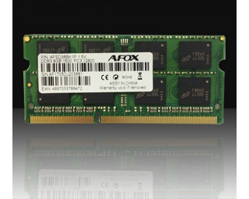 Модуль памяти DDR3 Afox 8Gb 1600MHz CL11 SO-DIMM 1,5v FSD38BK1P RTL
