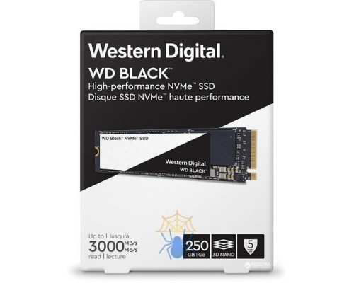 Винчестер M.2 250Gb PCI-E WD Black WDS250G2X0C Gen3x4 with NVMe, Write 1600MB/s, Read 3000MB/s (TLC)