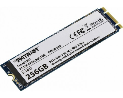 Винчестер M.2 256Gb PCI-Ex2 Patriot Scorch PS256GPM280SSDR 2280, NVMe, Write 780MB/s, Read 1700MB/s