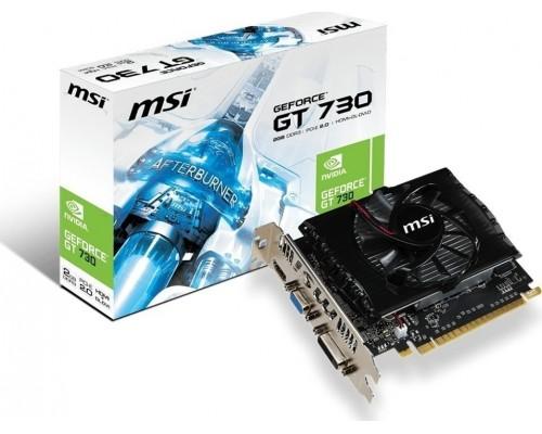 Видеокарта 2048Mb PCI-E MSI GeForce GT730 N730-2GD3V2 128bit PCI-E 2.0 GDDR3 1xD-SUB 1xDVI 1xHDMI RTL