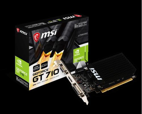 Видеокарта 2048Mb PCI-E MSI GeForce GT710 2GD3H LP 64bit GDDR3 1xD-Sub 1xDVI 1xHDMI RTL