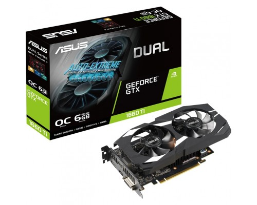 Видеокарта 6144Mb PCI-E Asus GeForce GTX 1660Ti DUAL-GTX1660TI-O6G 192bit PCI-E 3.0 GDDR6 1xDVI 2xHDMI 1xDP RTL