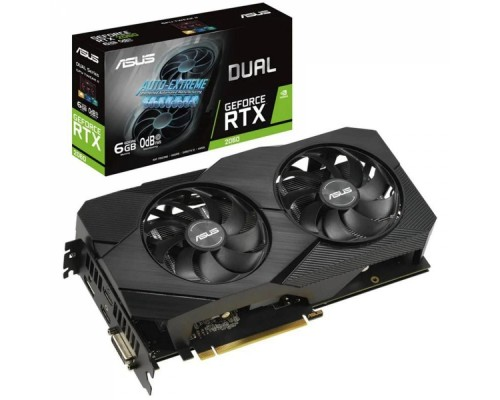 Видеокарта 6144Mb PCI-E Asus GeForce RTX 2060 DUAL-RTX2060-O6G-EVO 192bit PCI-E 3.0 GDDR6 2xHDMI 1xDP 1xDVI RTL
