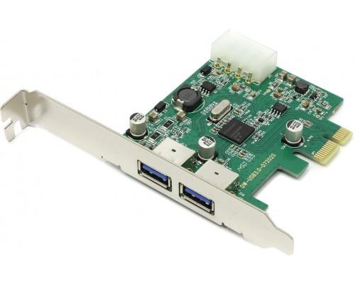 Контроллер USB3.0 PCI-Ex1 Orient NC-3U2PE, внешние: 2хUSB3.0 Type-A, NEC D720200 +разъем до питания