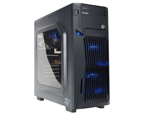Корпус Zalman Z1 Neo, ATX, fan case 3x120mm (установлено 3,  с синей LED подсветкой на передней панели), USB2.0x2, USB3.0x1, Audio I/O, черн., без БП