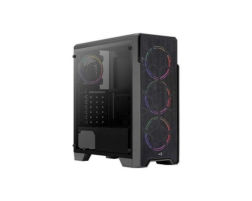 Корпус Aerocool Ore Saturn FRGB-G ATX, fan case 6х120mm (установлено: 3х120mm) 1xUSB3.0, 2xUSB2.0, наушники, микрофон, черный (без БП)
