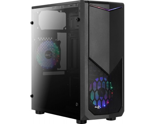 Корпус Aerocool Tomahawk-A ATX, fan case 3х120mm (установлен: 1х120mm RGB подсветка) 1xUSB3.0, 2xUSB2.0, наушники, микрофон, черный (без БП)