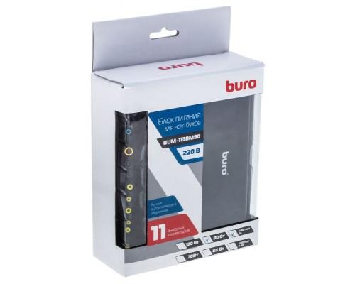 Блок питания для ноутбука Buro 90W BUM-1130M90 (универсальный ручной 12-24v, 11 переходников, USB) черный