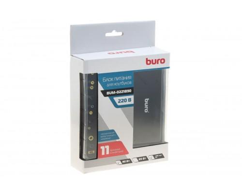 Блок питания для ноутбука Buro 90W BUM-0221B90 (универсальный 18,5-20v, 11 переходников, USB 2,4A) черный