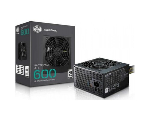 Блок питания Cooler Master 600W MasterWatt Lite 600 MPX-6001-ACABW-ES ATX12V2.31 (APFC, 85 PLUS, 20/24+4/8+2х6/8pin, вентилятор d120мм) RTL
