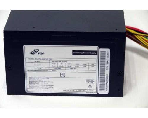 Блок питания FSP 500W ATX-500PNR PRO ATX12V 2.3 (APFC, 80Plus, 20/24+4/8+6+6/8pin, вентилятор d120mm)  OEM