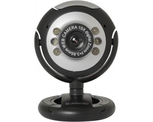 Web камера Defender C-110 (63110), 0,3Mpx, микрофон, кнопка фото, универсальное крепление на монитор или горизонтальную поверхность, USB, черный
