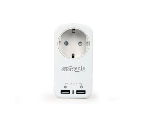Сетевой фильтр-розетка Energenie EG-ACU2-01-W, 1 розетка, 16A, 2xUSB порта для зарядки 2,1A, белый