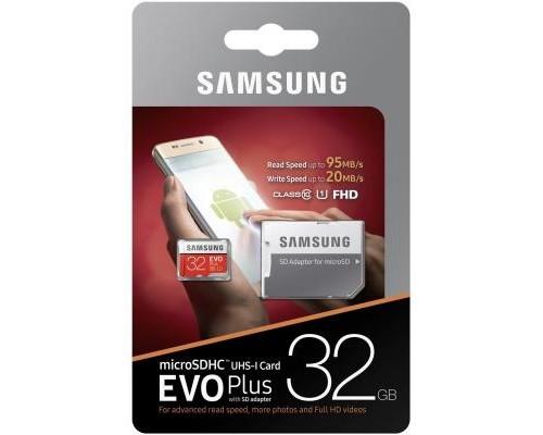 Карта памяти MicroSD 32Gb Samsung EVO Plus MB-MC32GA/RU, UHS-I class 10 + адаптер SD запись/чтение - до 20/90 Мб/сек