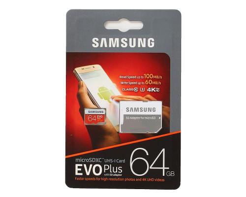 Карта памяти MicroSD 64Gb Samsung EVO Plus MB-MC64GA/RU, UHS-I U3 class 10 + адаптер SD запись/чтение - до 60/100 Мб/сек