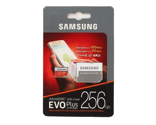 Карта памяти MicroSD 256Gb Samsung Evo Plus 2 MB-MC256GA/RU, UHS-I U3 Class 10 + адаптер запись/чтение - до 90/100 Мб/сек