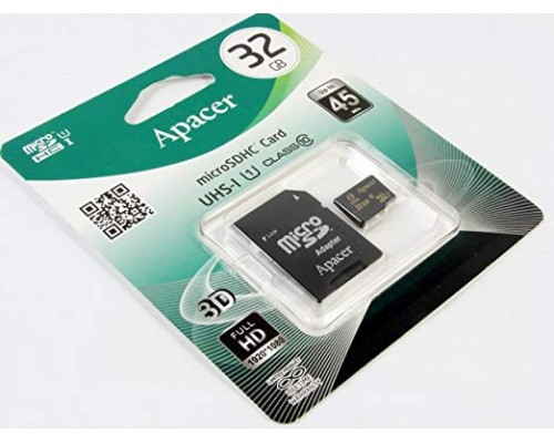 Карта памяти MicroSD 32Gb Apacer AP32GMCSH10U1-R UHS-I U1 Class 10 + адаптер SD