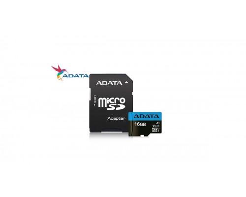 Карта памяти MicroSD 16Gb ADATA AUSDH16GUICL10A1-RA1 UHS-I U1 class 10 + адаптер SD запись/чтение - до 25/85 Мб/сек