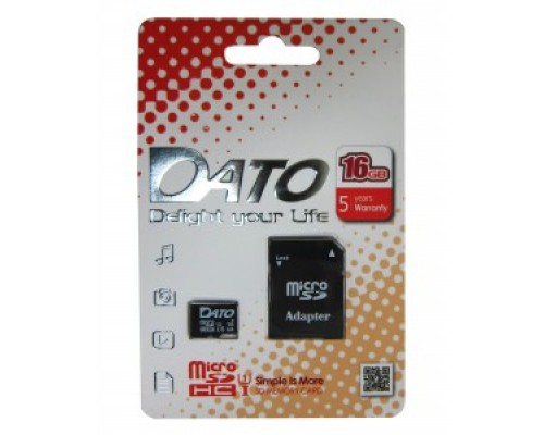 Карта памяти MicroSD 16Gb Dato DTTF016GUIC10 UHS-I U1 Class 10 запись/чтение - до 10/40 Мб/сек