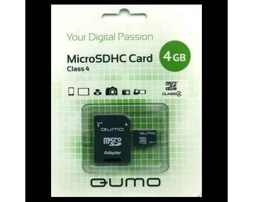 Карта памяти MicroSD 4Gb Qumo QM4GMICSDHC4 Class 4 + адаптер SD