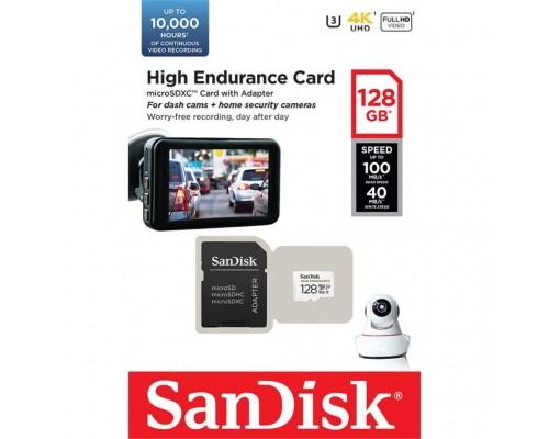Карта памяти MicroSD 128Gb SanDisk High Endurance SDSQQNR-128G-GN6IA MicroSDXC UHS-I U3 Class 10 + адаптер запись/чтение - до 40/100 Мб/сек