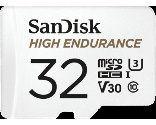Карта памяти MicroSD 32Gb SanDisk High Endurance SDSQQNR-032G-GN6IA MicroSDXC UHS-I U3 V30 Class 10 + адаптер запись/чтение - до 40/100 Мб/сек