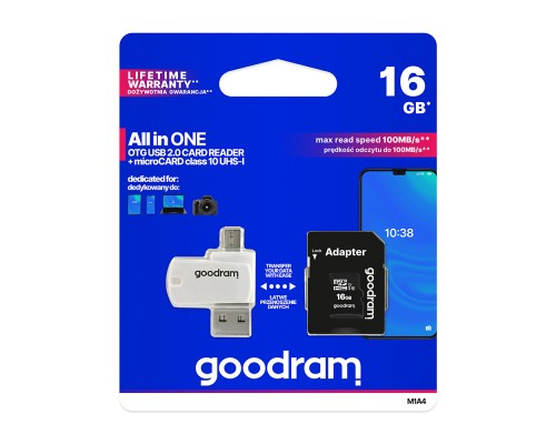 Карта памяти MicroSD 16Gb GoodRam M1A4-0160R12 UHS-I U1 class 10 + адаптер SD + USB-картридер, запись/чтение - до 10/100 Мб/сек