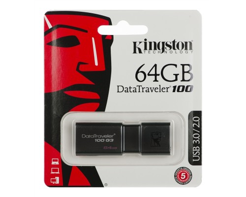 Флеш драйв Kingston 64Gb USB3.0 Data Traveler 100 G3 DT100G3/64GB, черный