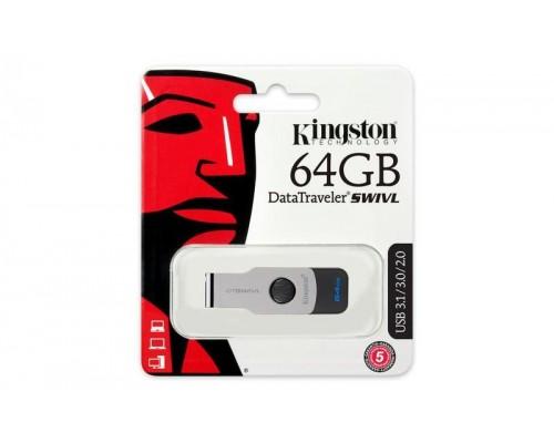 Флеш драйв Kingston 64Gb USB3.0 Data Traveler DTSWIVL/64GB серебристый/черный