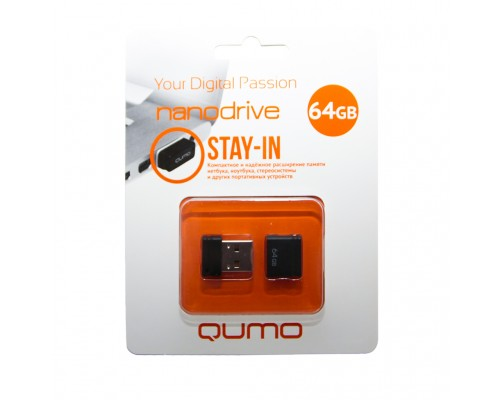 Флеш драйв Qumo Stay-In USB2.0 64Gb черный