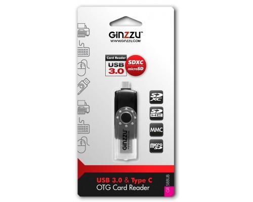 Устройство чтения Ginzzu GR-588UB, USB 3.0/SDXC/microSDXC, Type-C OTG ридер, черный