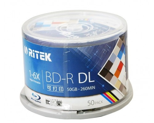Диск BD-R DL 50Гб 6x Ritek Printable (25шт/уп) 1 диск