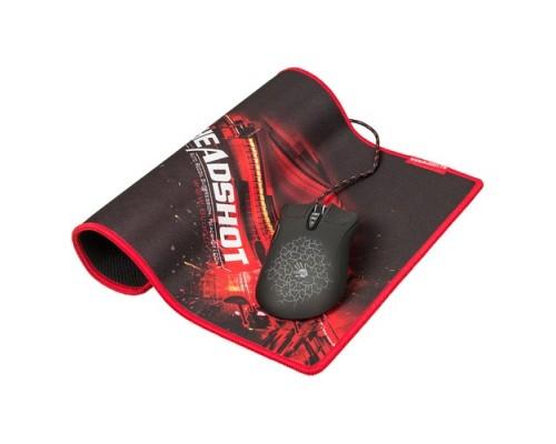 Мышь A4Tech Bloody A9071 игровая оптическая 4000dpi 8 кнопок USB черно-красный с подсветкой + игровой коврик B-071 350х280мм