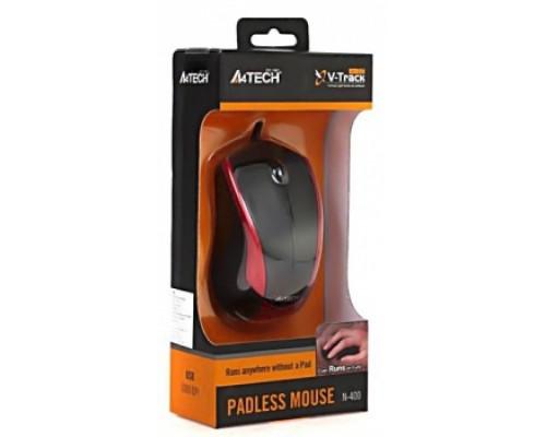Мышь A4 Tech V-Track Padless N-400-2 проводная оптическая 1000dpi 2 кнопки USB черно-красная