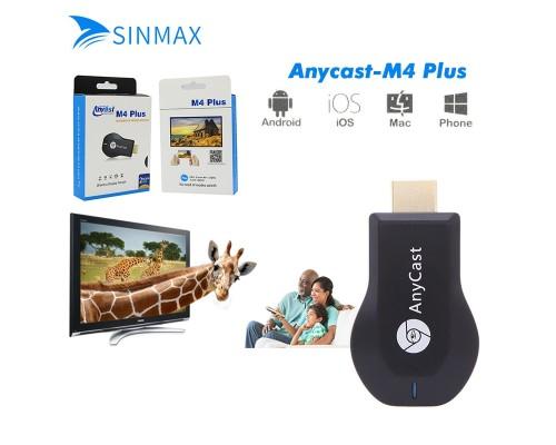 Адаптер-ресивер Miracast-DLNA-Wi-Fi AnyCast M4 Plus для прямого подключения  телевизора к смартфону, ноутбуку или планшету на операционной системе Android или iOS.