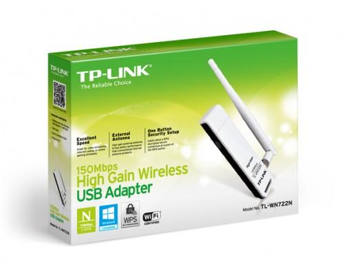 Адаптер Wi-Fi 802.11n TP-Link TL-WN722N 150Мбит/с, USB, внешняя антенна 1x4 dBi