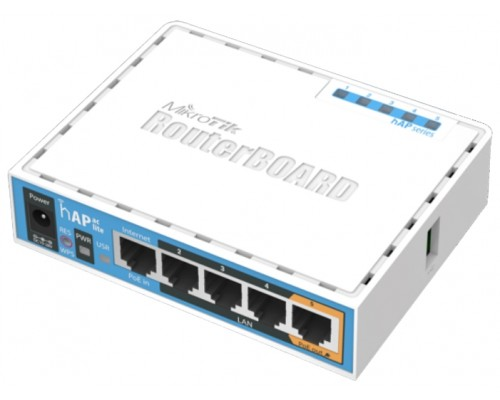 Маршрутизатор Wi-Fi Mikrotik hAP ac lite RB952Ui-5ac2nD RouterBoard 802.11ac/n 2.4+5GHz 5x10/100Мбит/сек. 1xUSB 2.0 порт