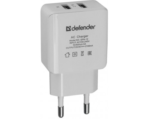 Адаптер питания 220V -> 5V 2100mA Defender EPA-12 83530 2xUSB A белый