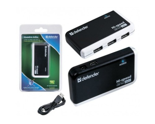 Разветвитель USB 2.0 4port Defender Quadro Infix Art.83504