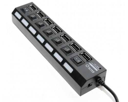 Разветвитель USB 2.0 7port 5Bites HB27-203PBK, внешн., с блоком питания, отключение портов, черный