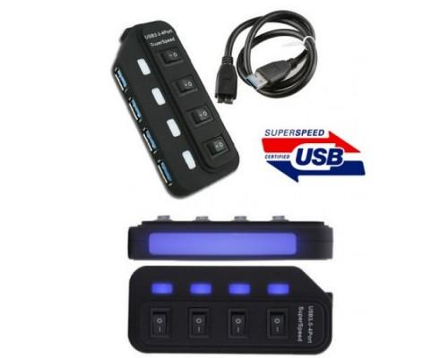 Разветвитель USB 3.0 4port Orient BC-306PS, выключатель и индикация для каждого порта, адаптер питания в комплекте, черный