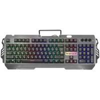 Клавиатура Defender Renegade GK-640DL, игровая, расширенная звукоактивная RGB подсветка, металлическая крышка, подставка под телефон, USB, черный (45640)
